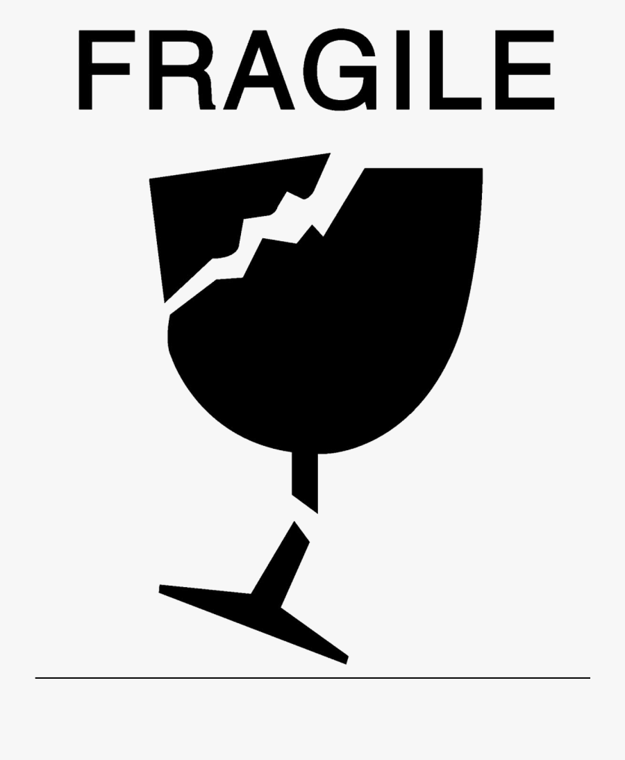 """A Clipart Of Broken Glass With The Word """"fragile - 4 X 6 Fragile Labels, Transparent Clipart"""