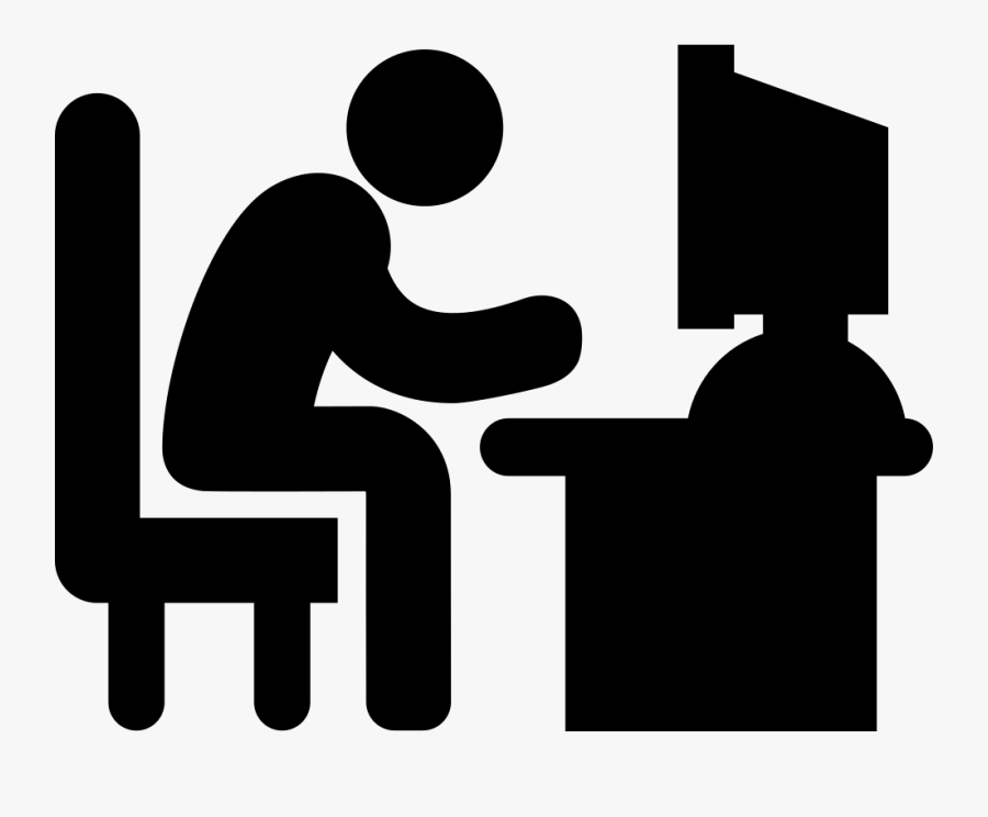 Man Typing On Computer Desk Comments - Man On Computer Logo, Transparent Clipart