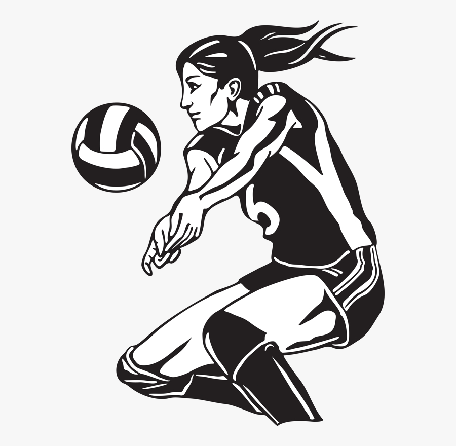 Volleyball Free Clipart Black And White Transparent - Girl Playing Volleyball, Transparent Clipart