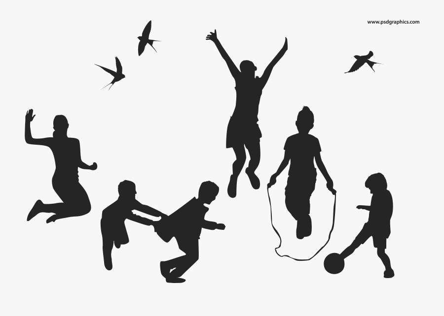 Playful Children Vector Silhouettes - Children Playing Silhouette Png, Transparent Clipart