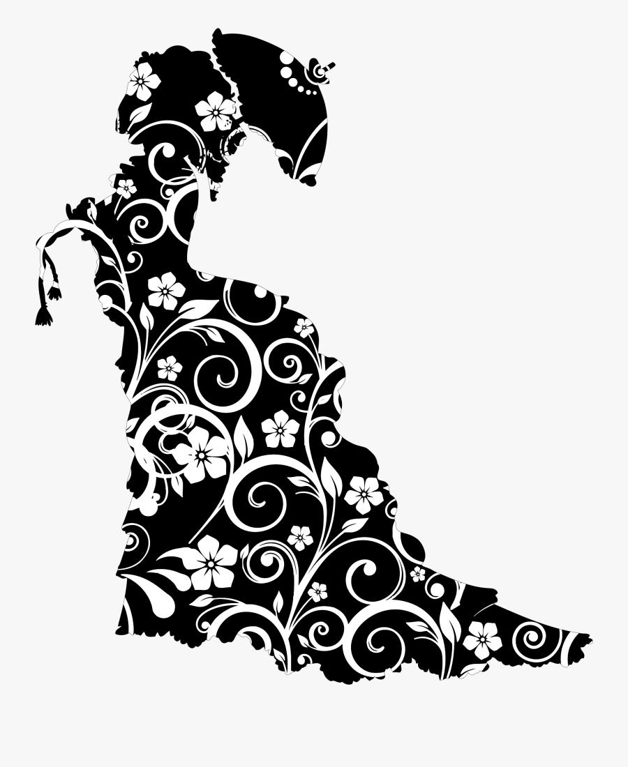 Floral Vintage Victorian Lady Silhouette - Victorian Png, Transparent Clipart