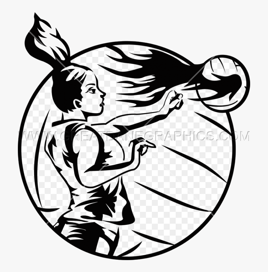 Volleyball Spiking In Black And White Clipart Playing - Volleyball Logo Black And White Transparent, Transparent Clipart