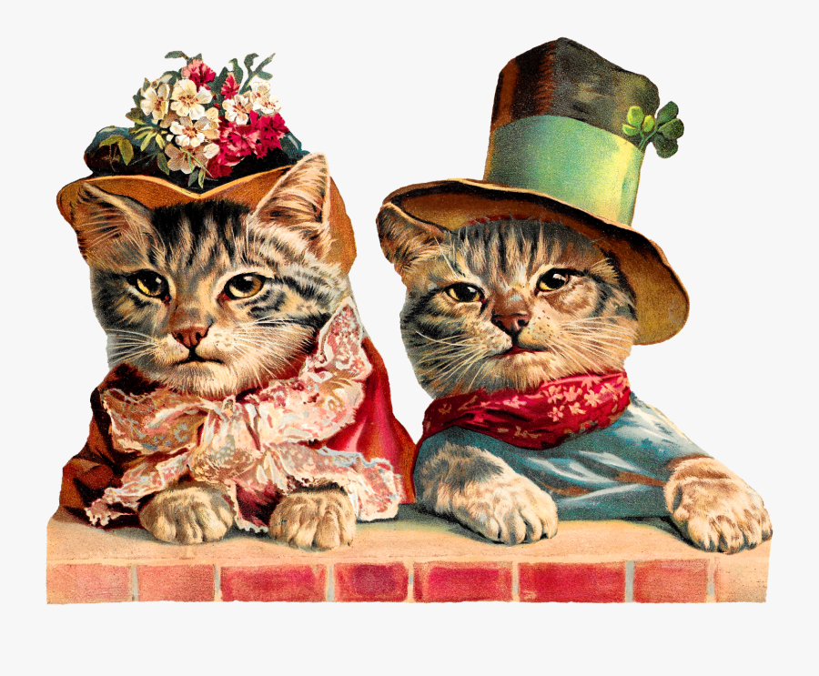 Cats Animal Image Humorous Victorian Image Clipart - Victorian St Patricks Day Cat, Transparent Clipart