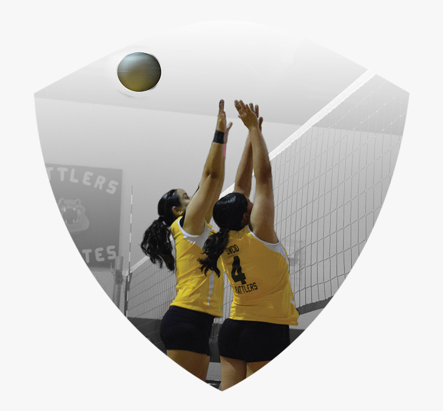 """Two Women""""s Volleyball Players Jumping To Block Ball - Beach Volleyball, Transparent Clipart"""