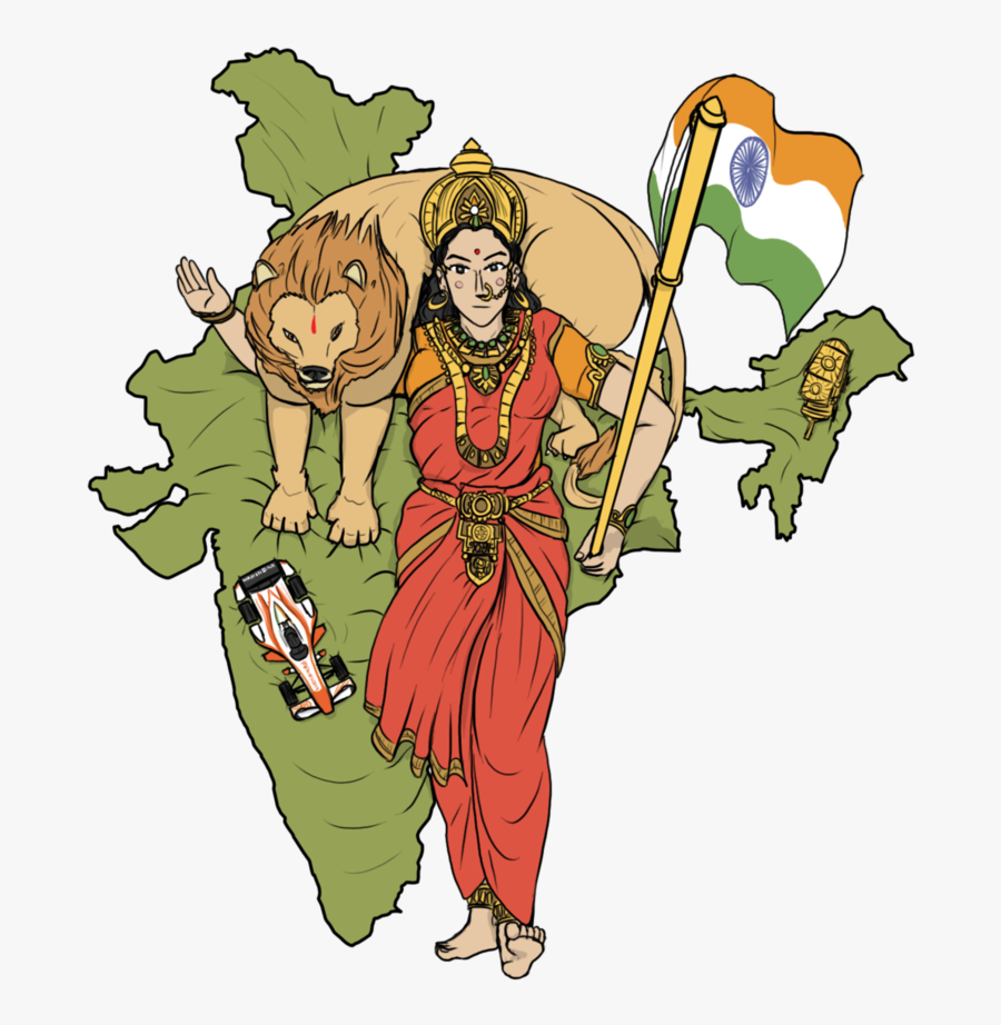 Evolution Of Mother India By Vachalenxeon Clipart , - Bharat Mata In India Map, Transparent Clipart