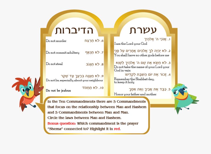 Ten Commandments Clipart Mount Sinai - Aseret Hadibrot In Hebrew, Transparent Clipart