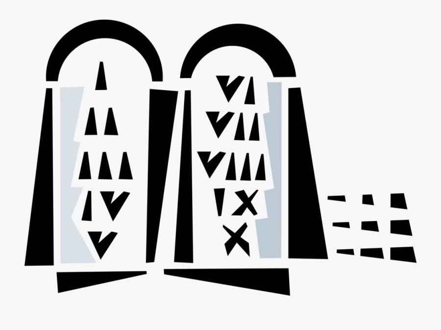 Vector Illustration Of Ten Commandments Decalogue Tablets - Illustration, Transparent Clipart