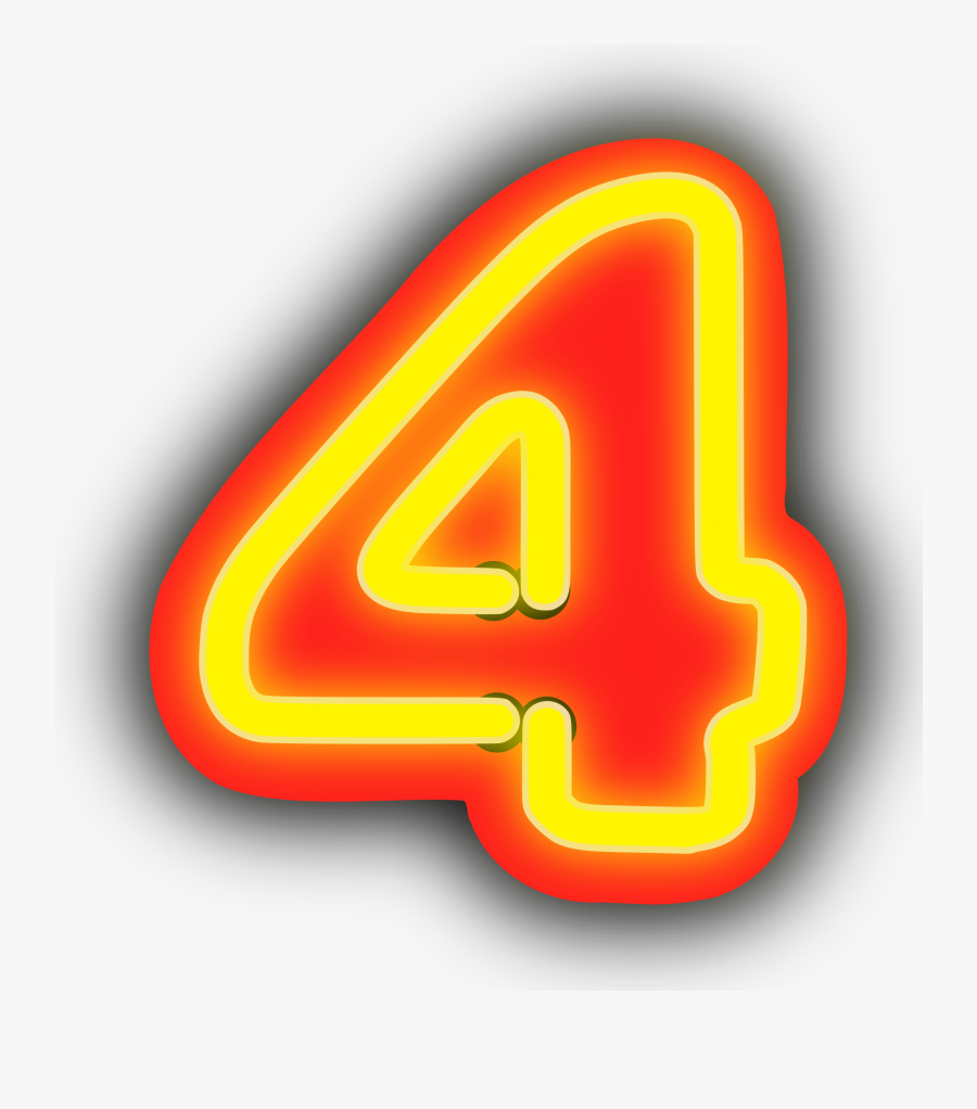 Angle,text,symbol - Number 4 Png Neon, Transparent Clipart