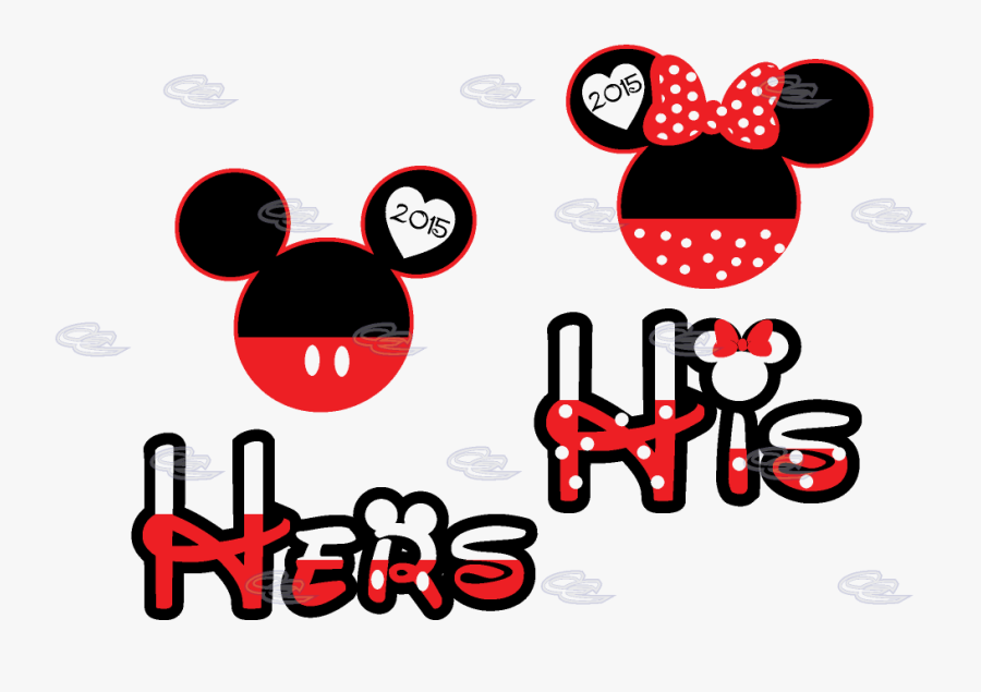 His Hers Mickey Minnie Mouse Head With Custom Names, Transparent Clipart