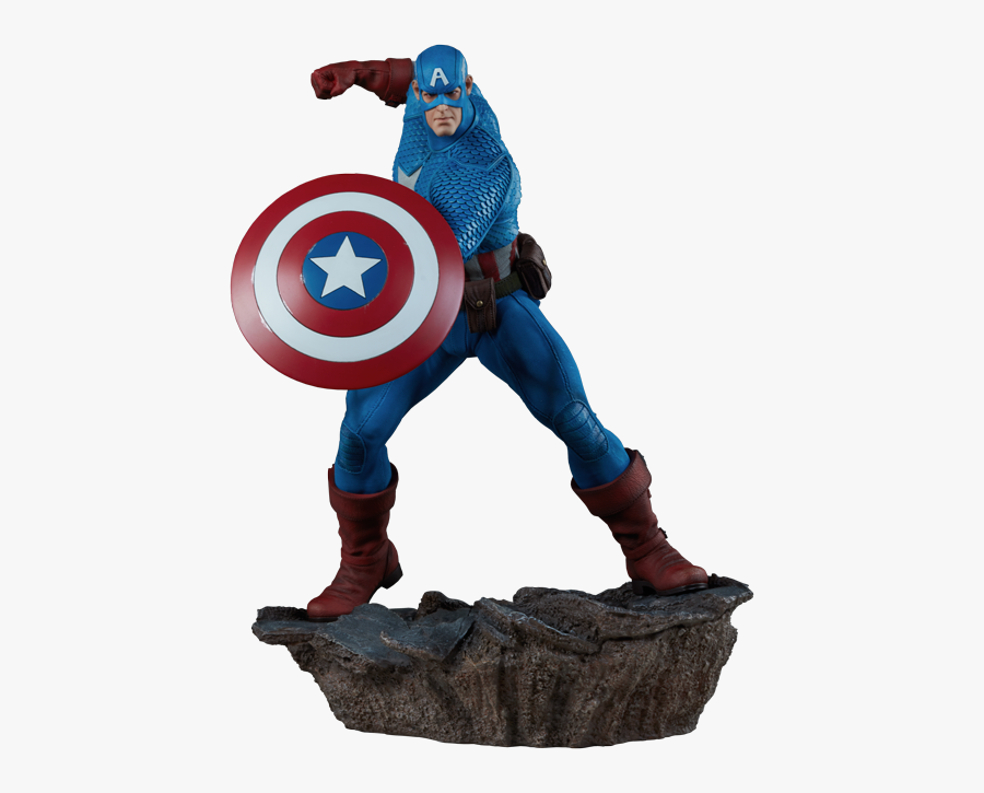 Marvel Captain America Statue By Sideshow Collectibles - Captain America Figure Cartoon, Transparent Clipart