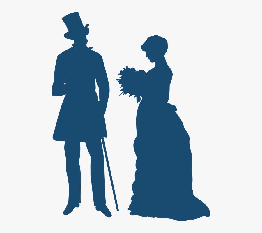 Gentleman, Lady, Victorian, Bouquet, Couple, Friendship - Old Fashioned Clipart, Transparent Clipart
