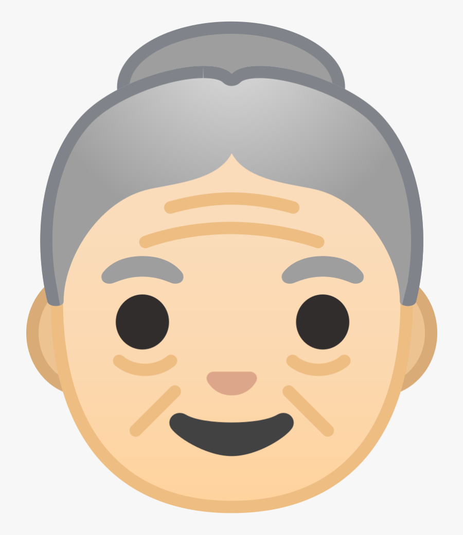 Light Skin Tone Icon - Old Woman Emoji, Transparent Clipart