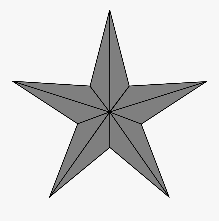 Star Grey Christmas Free Picture - Red Star, Transparent Clipart