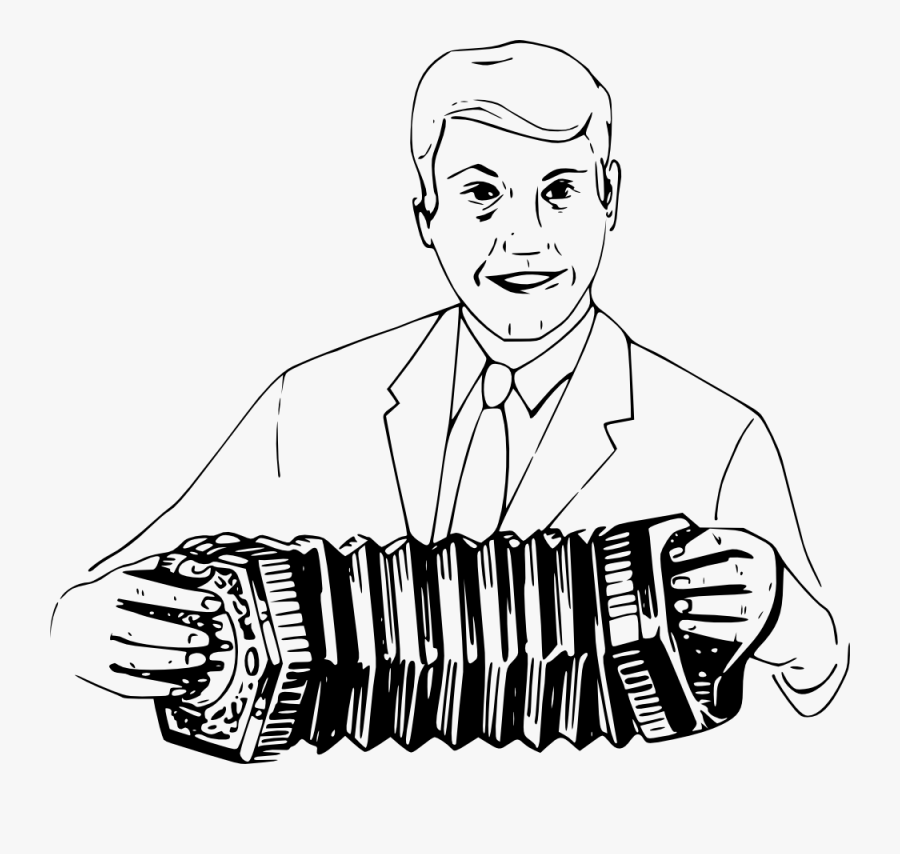Man Playing Concertina - Draw People Playing Musical Instruments, Transparent Clipart