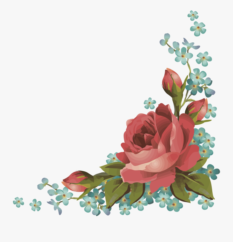 Frames Frame Borders Border Roses Rose Flowers Flower - Flower Corner Design Png, Transparent Clipart