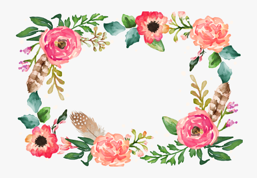Watercolor Border Flower Painting Illustration Download - Transparent Background Floral Border, Transparent Clipart