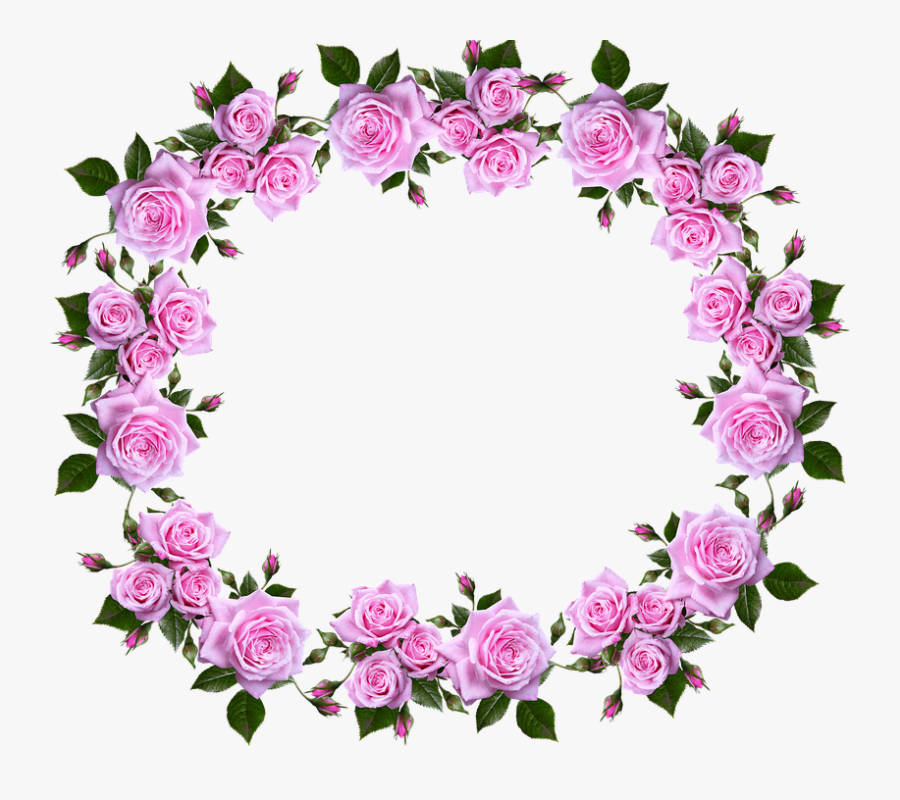 Frame, Border, Floral, Roses, Decorative - Flower Rose Border Frame Design, Transparent Clipart
