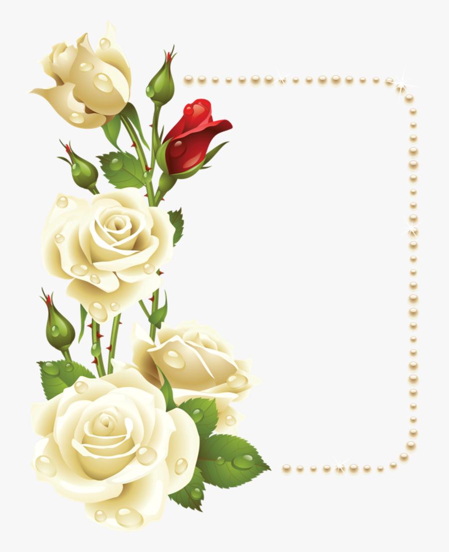 - Images Album - White Roses Corner Border, Transparent Clipart