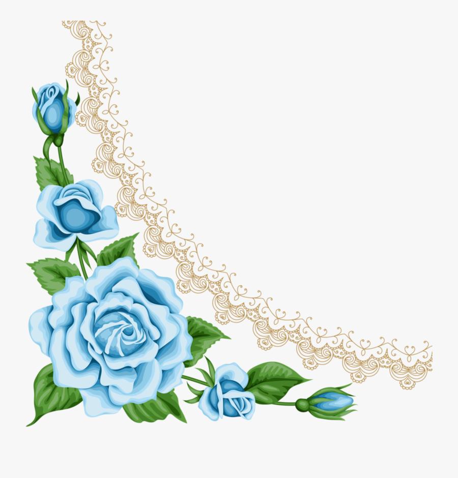 Light Blue Rose Border - Light Blue Flowers Border, Transparent Clipart