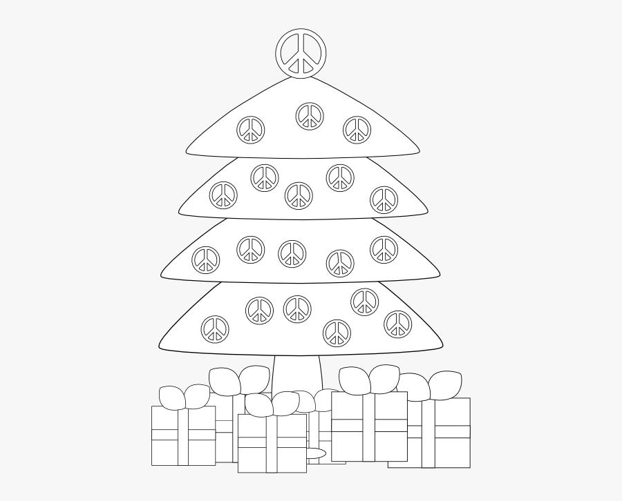 Christmas Tr Peace Sign Black White Line Art Xmas Tree - Drapeau Peace And Love, Transparent Clipart