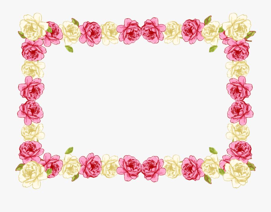 Pink Rose Clipart Borders Vintage Color - Border Line Flower Design, Transparent Clipart