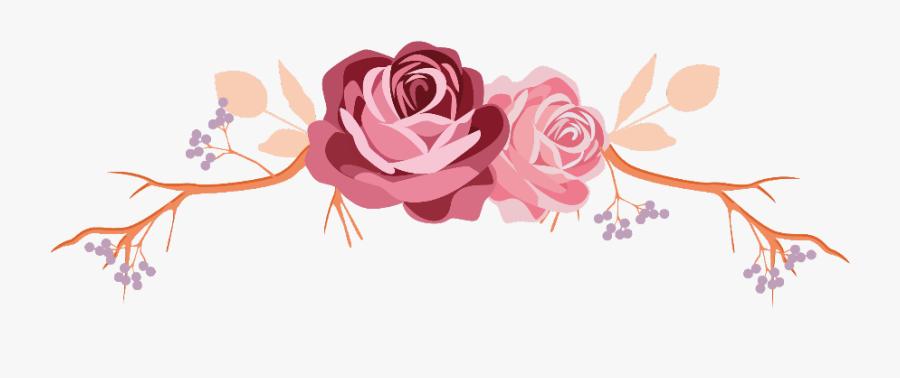 #flowers #rose #roses #leaves #branch #divider #border - Rose Gold Flower Border, Transparent Clipart