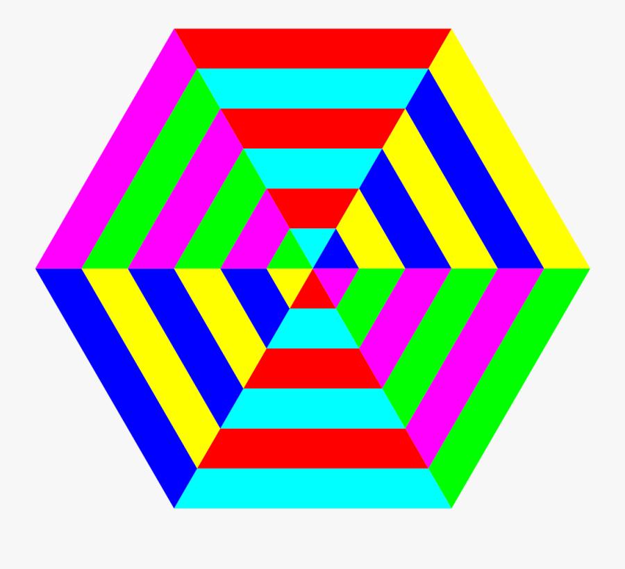Colourful Hexagon - رسم الخداع البصري بالوان, Transparent Clipart
