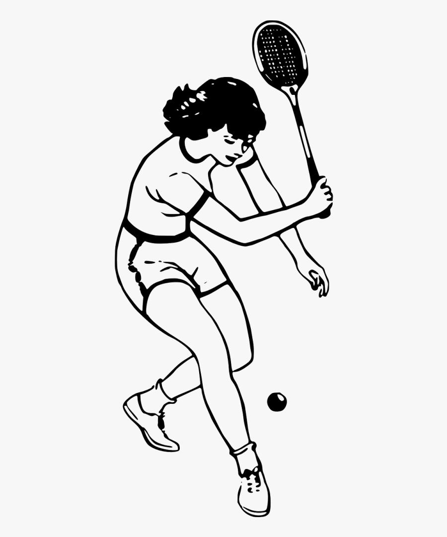 Tennis Player Girl - Playing Badminton Line Art, Transparent Clipart