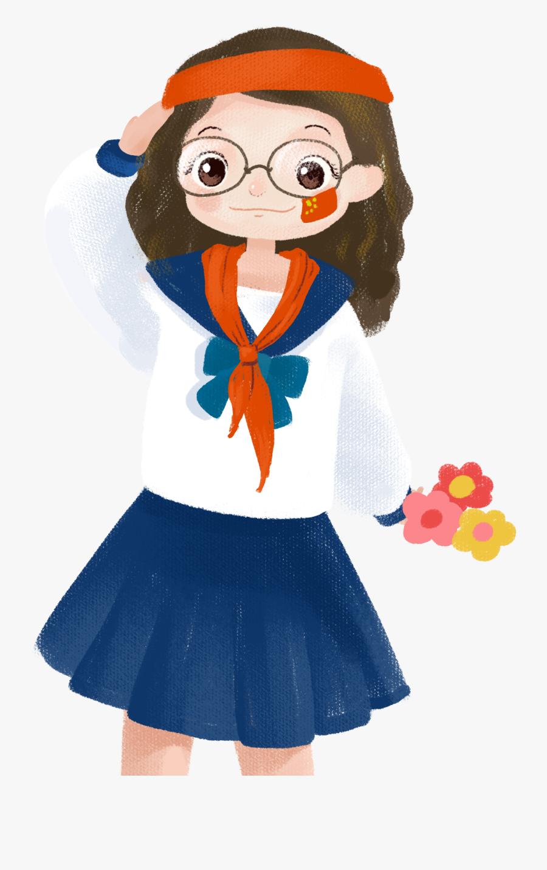 Cartoon Cute Girl Character Png And Psd - ตัว การ์ตูน นักเรียน น่า รัก Png, Transparent Clipart