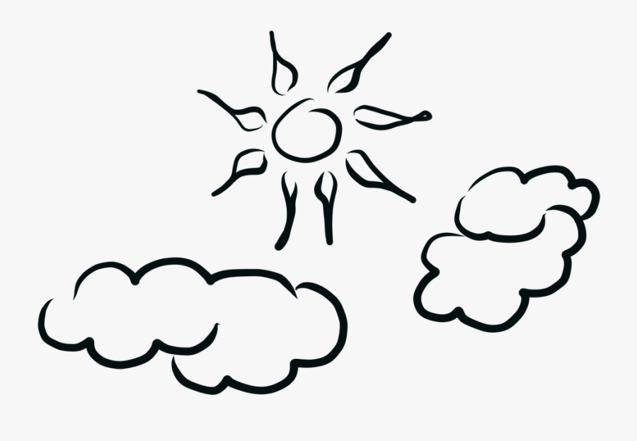 Sun, Clouds, Sunny Day, Cloudy Day, Sunrise, Nature - Sunny Day Black And White Png, Transparent Clipart