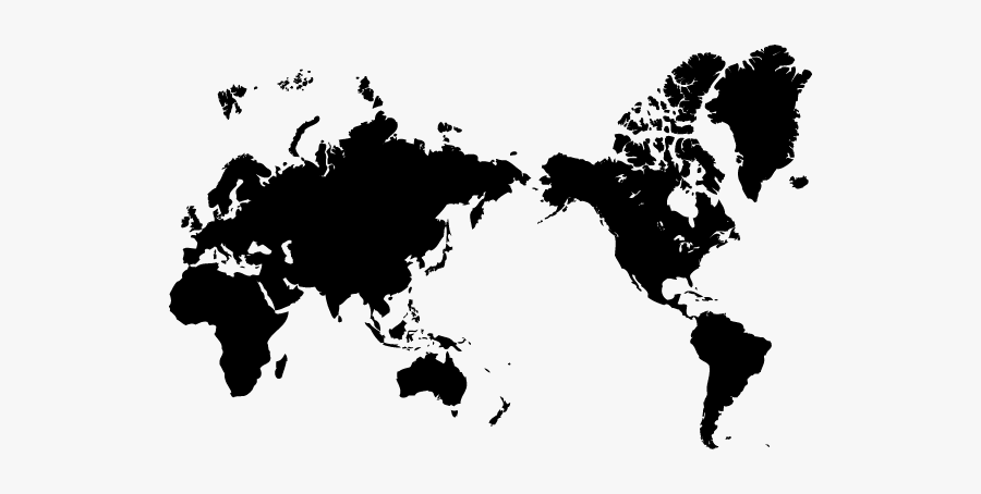 Pacific Ocean Black Map, Transparent Clipart