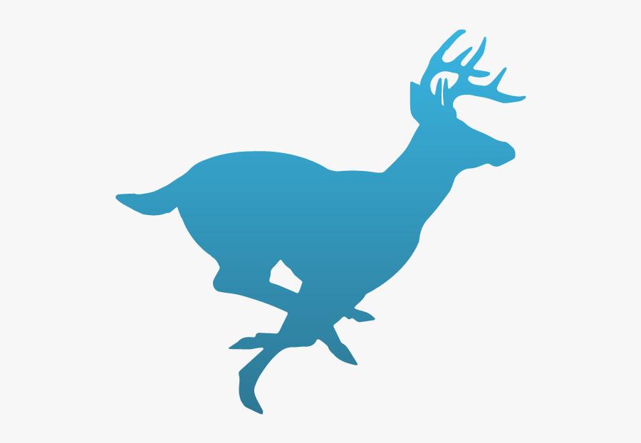 Dog Chasing Deer Silhouette Clipart , Png Download - Deer Running, Transparent Clipart