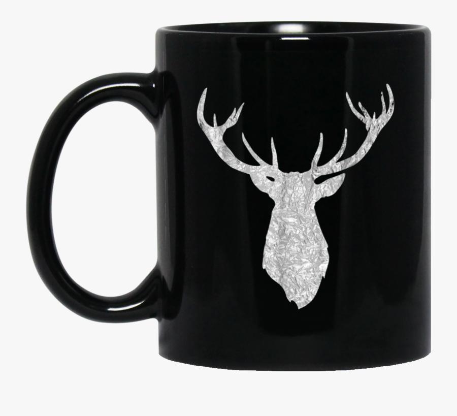 Buck Stag Deer Head Antlers Silver Silhouette 11 Oz - White Deer Head Silhouette, Transparent Clipart