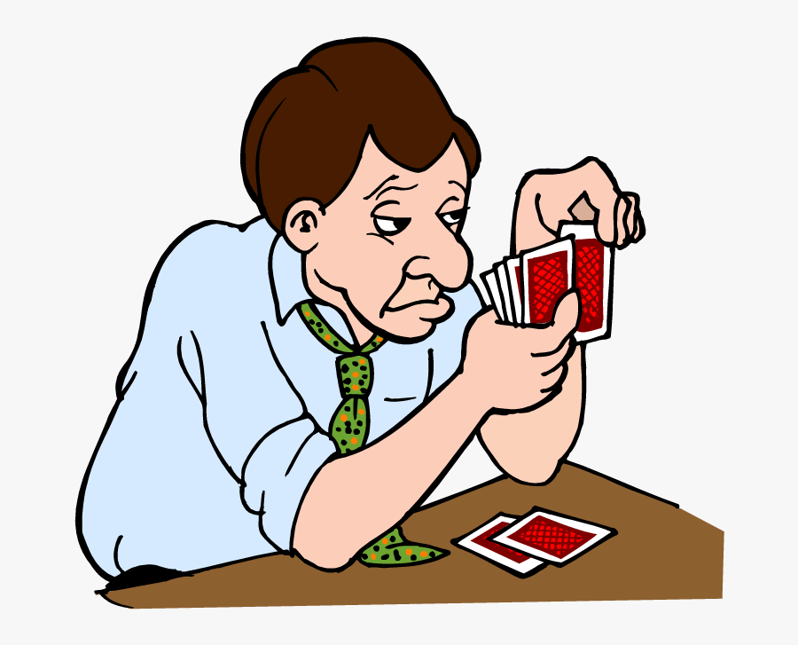 Clip Art Vector Library Huge - Man Playing Cards Cartoon, Transparent Clipart
