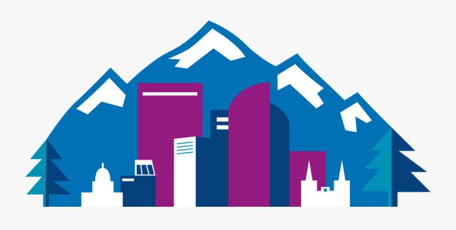 Denver Skyline Line Drawing, Transparent Clipart