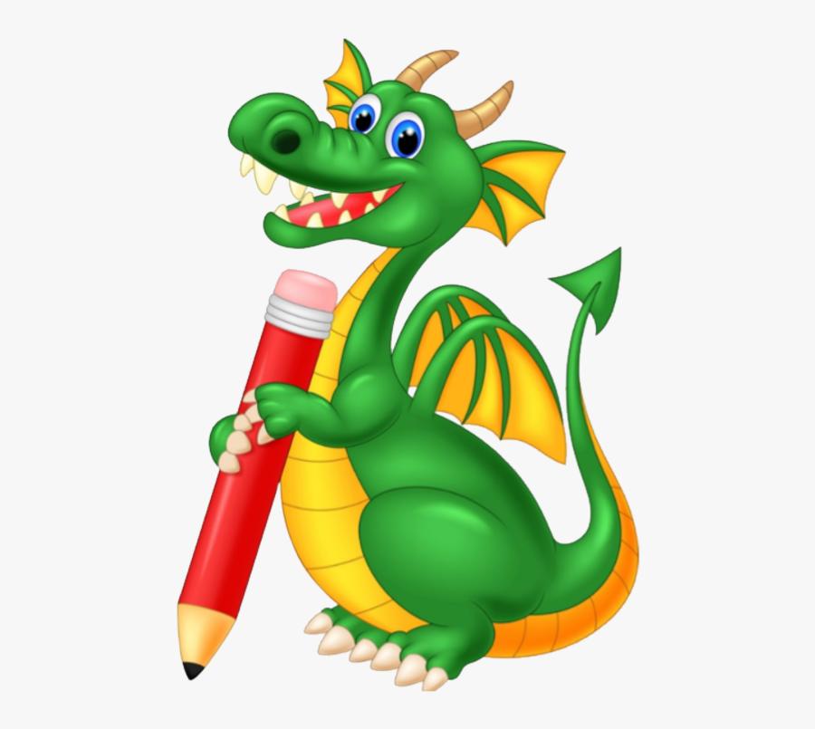 Return Home - Dragon Cartoon Holding Pencil, Transparent Clipart