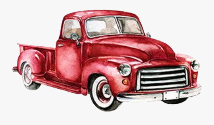 #watercolor #vintage #truck #red #pickup #christmastruck ...