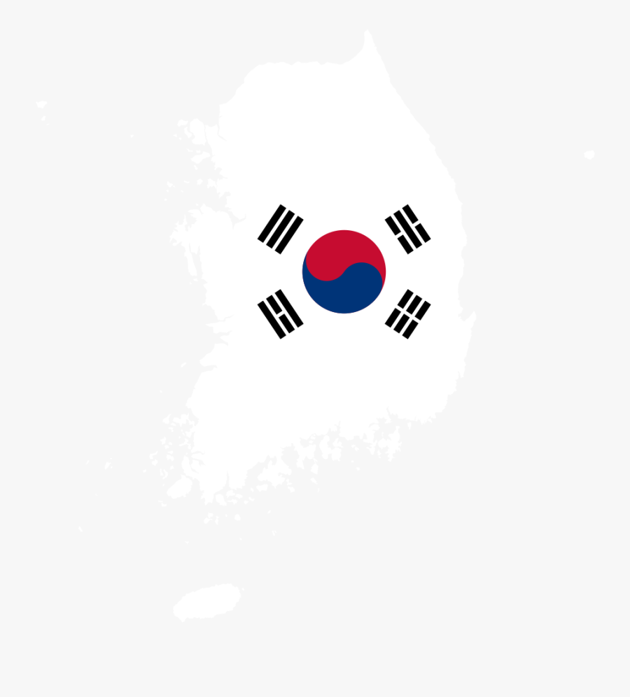 South Korea Map Flag - South Korea Flag, Transparent Clipart