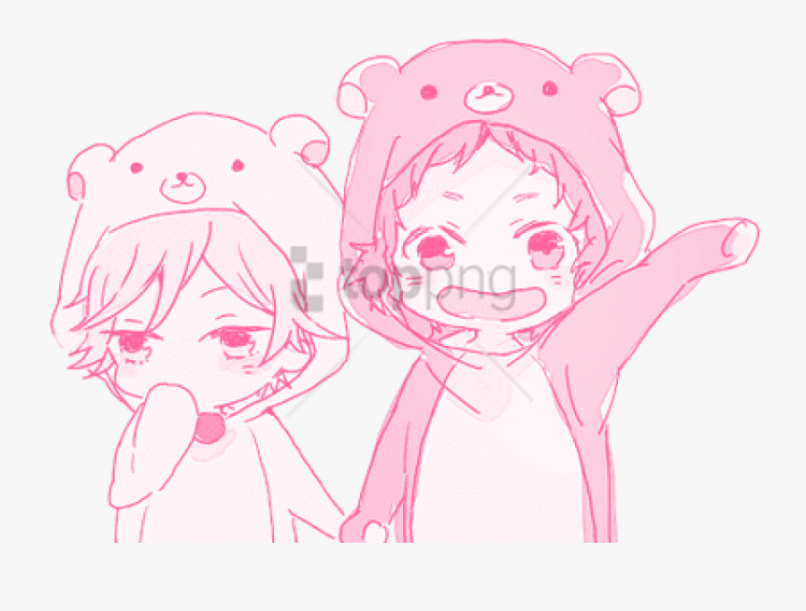 Drawing Blush Anime Clip Transparent Download - Holding Hands Drawing Anime, Transparent Clipart