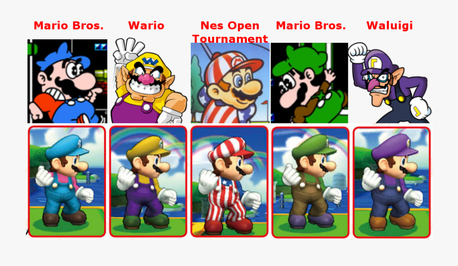Super Mario Clipart Super Smash Bro - Super Smash Bros Wii U Mario Colors, Transparent Clipart