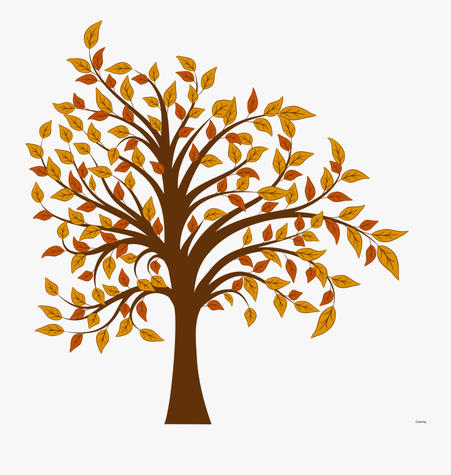 Fall Clipart Branch - Fall Leaves Tree Clip Art, Transparent Clipart