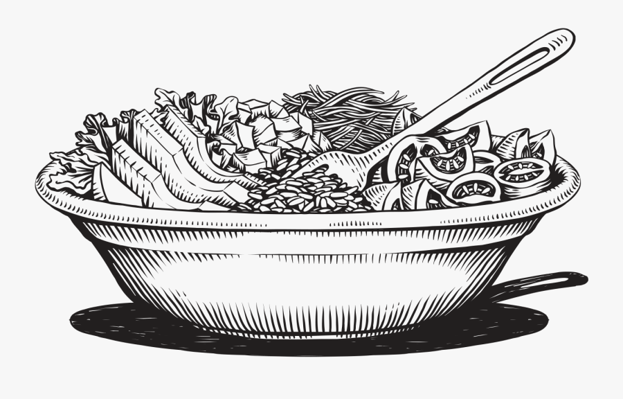 Salad Clipart Black And White - Salad Illustration Black And White, Transparent Clipart