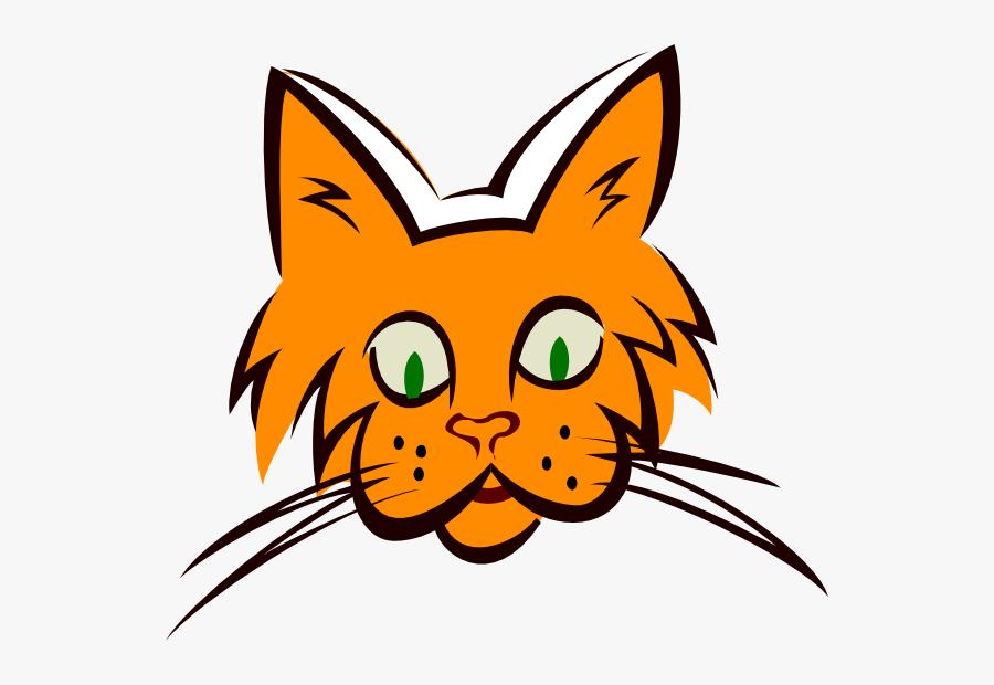 Orange Cat Face Clip Art - Whiskers Clipart, Transparent Clipart