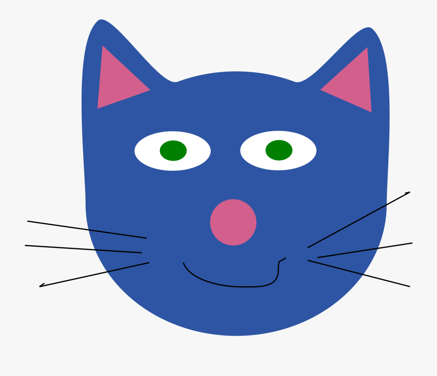 Transparent Cat Face Clipart - Blue Cat Face Clipart, Transparent Clipart