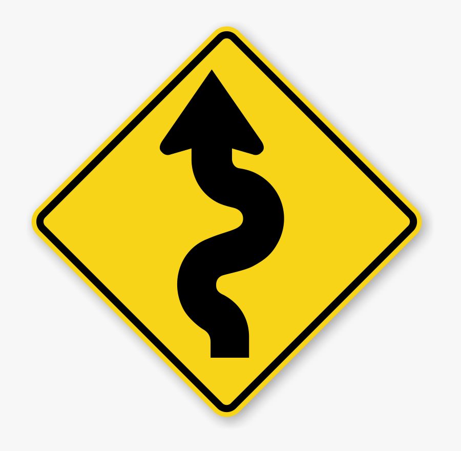 Narrow Road Signs - Winding Road Sign Png, Transparent Clipart