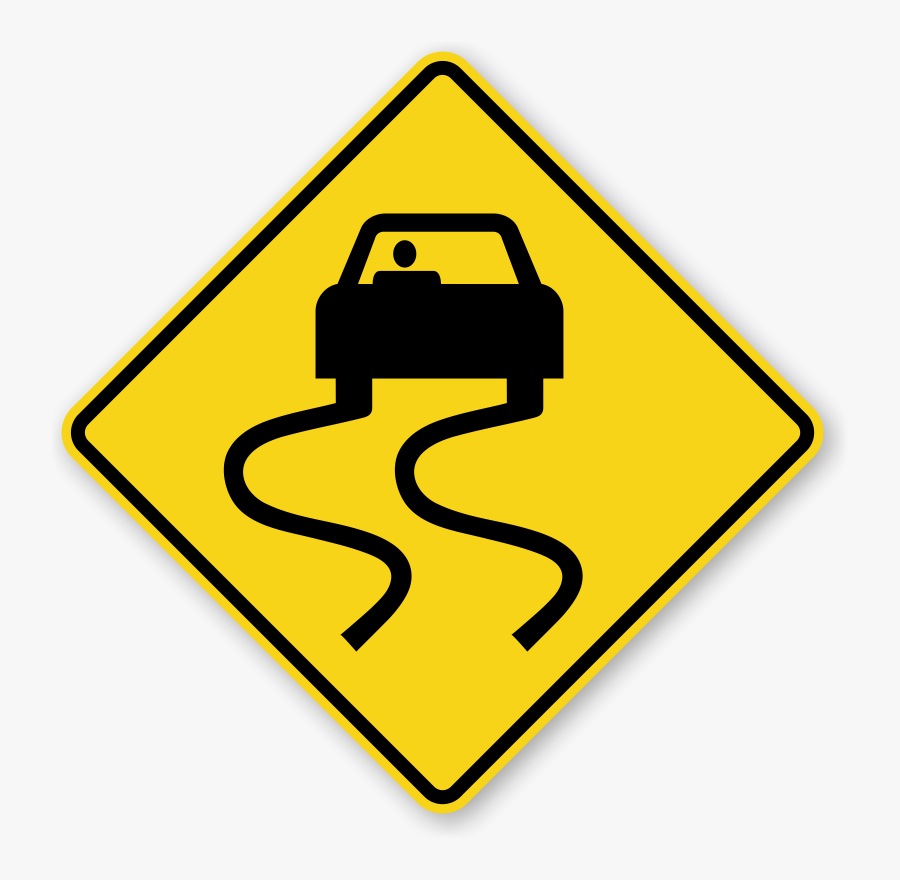 Slippery Road Signs - Slippery Road Sign, Transparent Clipart