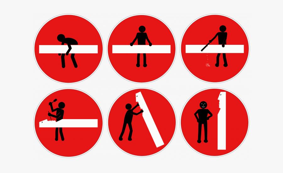 Stick Figure, Road Sign, Traffic Sign - Stick Figure In Traffic Signs, Transparent Clipart