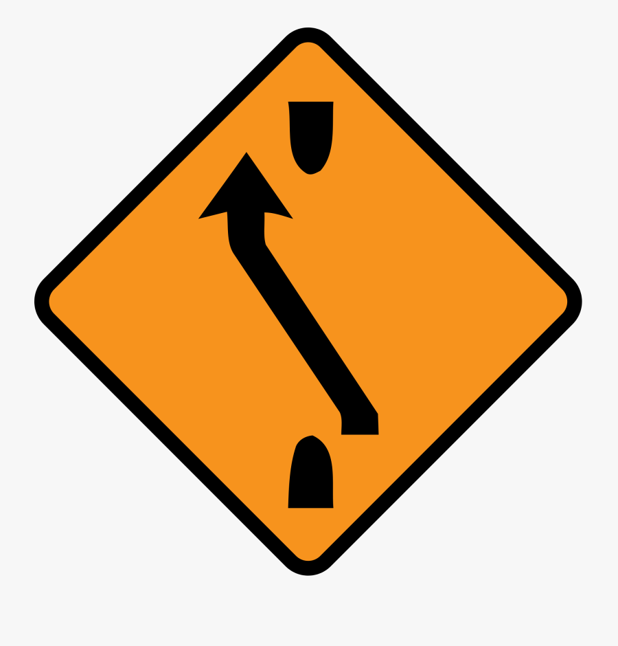 Clipart Diamond Road Sign - Bend In The Road To The Left Ahead, Transparent Clipart