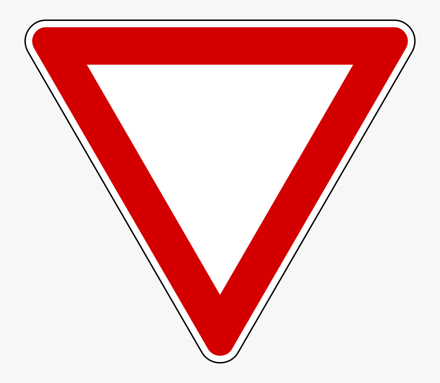 Diamonds Clipart Road Sign - Red Upside Down Triangle Sign, Transparent Clipart