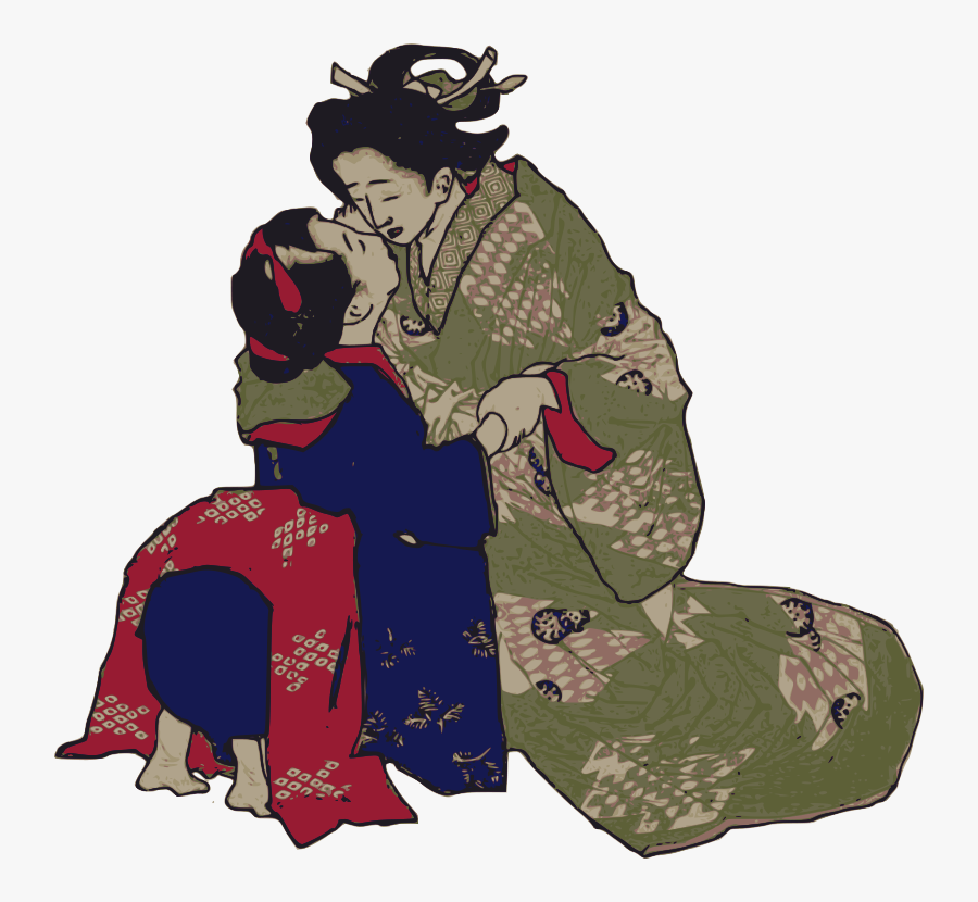 Kissing Geisha - 일본 귀여운 여자 포옹, Transparent Clipart